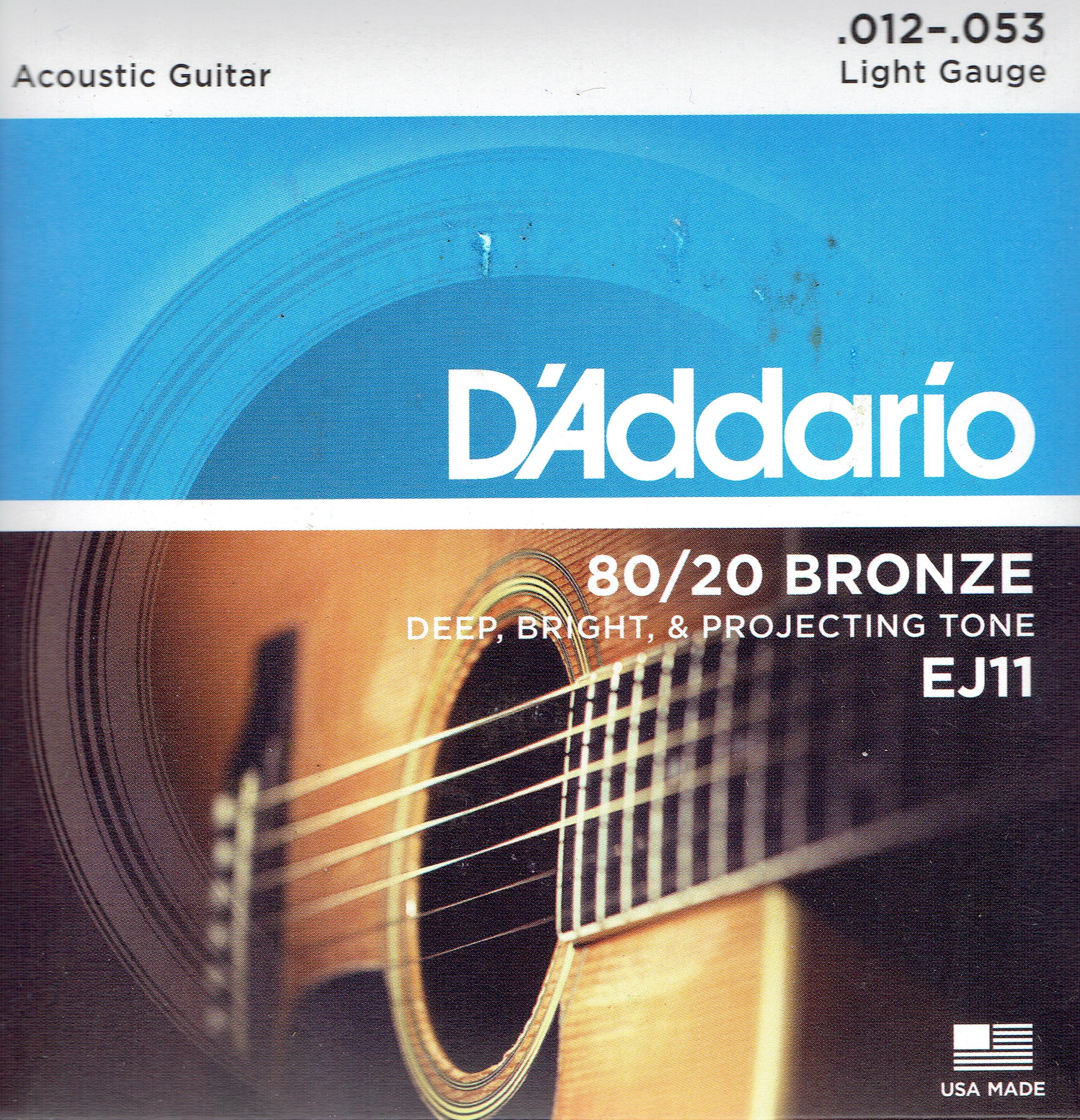 D'Addario 80/20 bronze acoustic guitar strings 12-53 EJ11