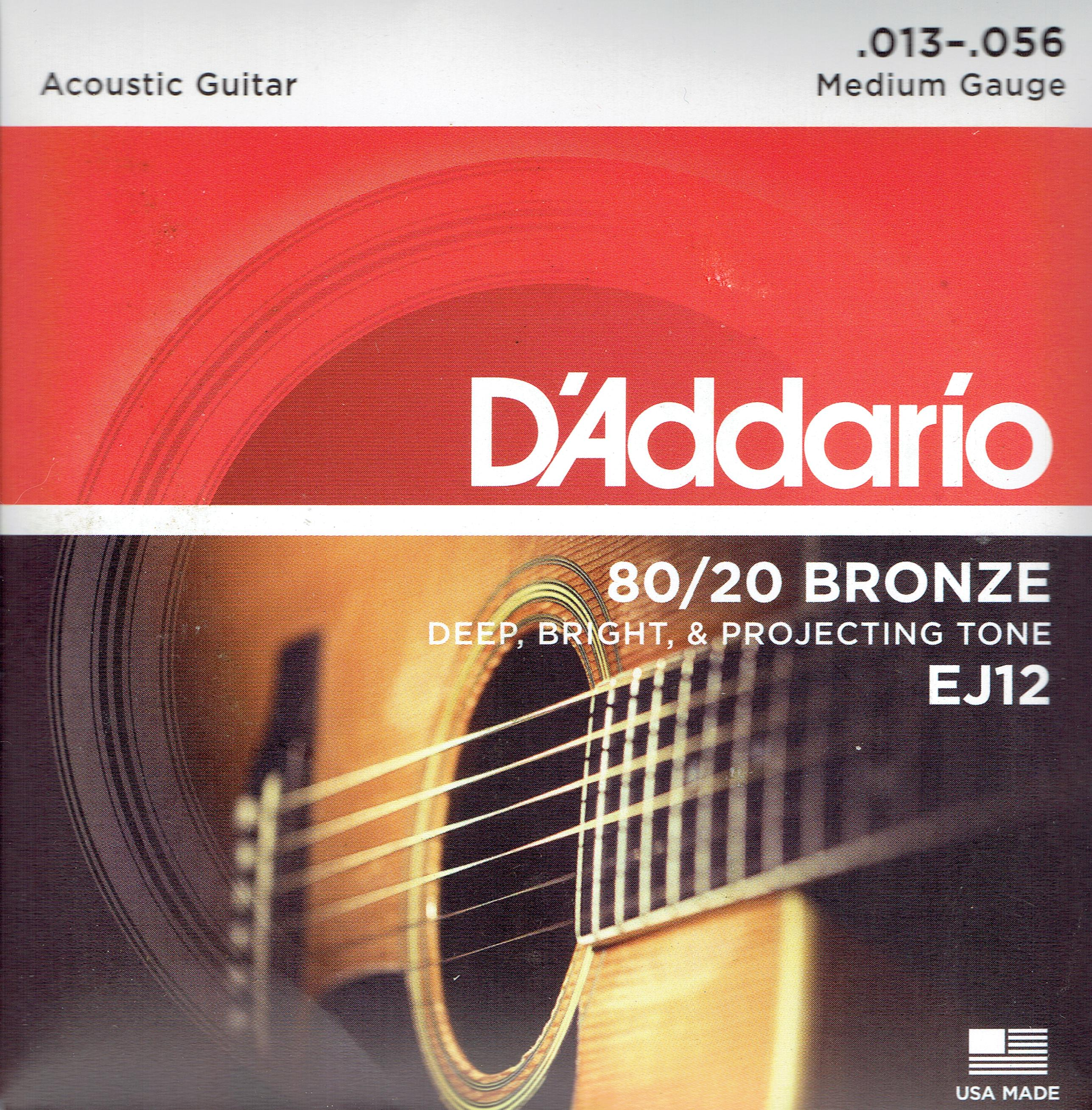 D'Addario 80/20 bronze acoustic medium guitar strings 13-56