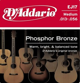 D'Addario phosphor bronze acoustic  guitar strings ej17 13.56
