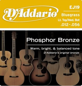 D'Addario Phosphor Bronze Bluegrass Guitar Strings ej19 12-56