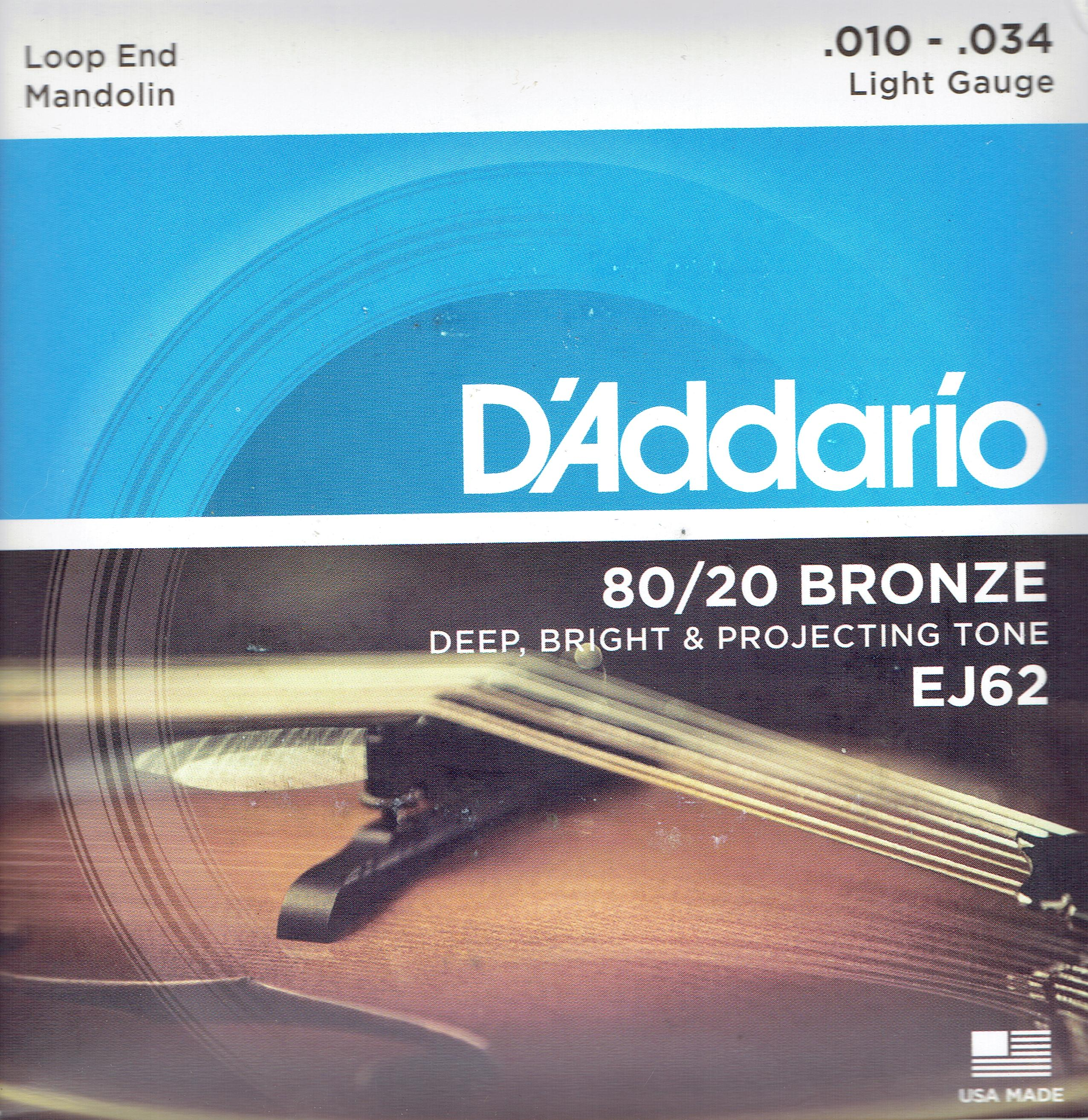 D'Addario mandolin 80/20 bronze acoustic strings 10-34 EJ52