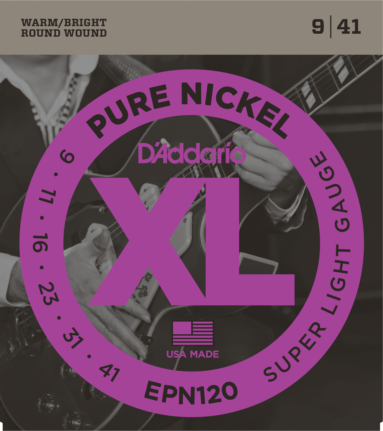 D'Addario pure nickel guitar strings 9-41 EPN120