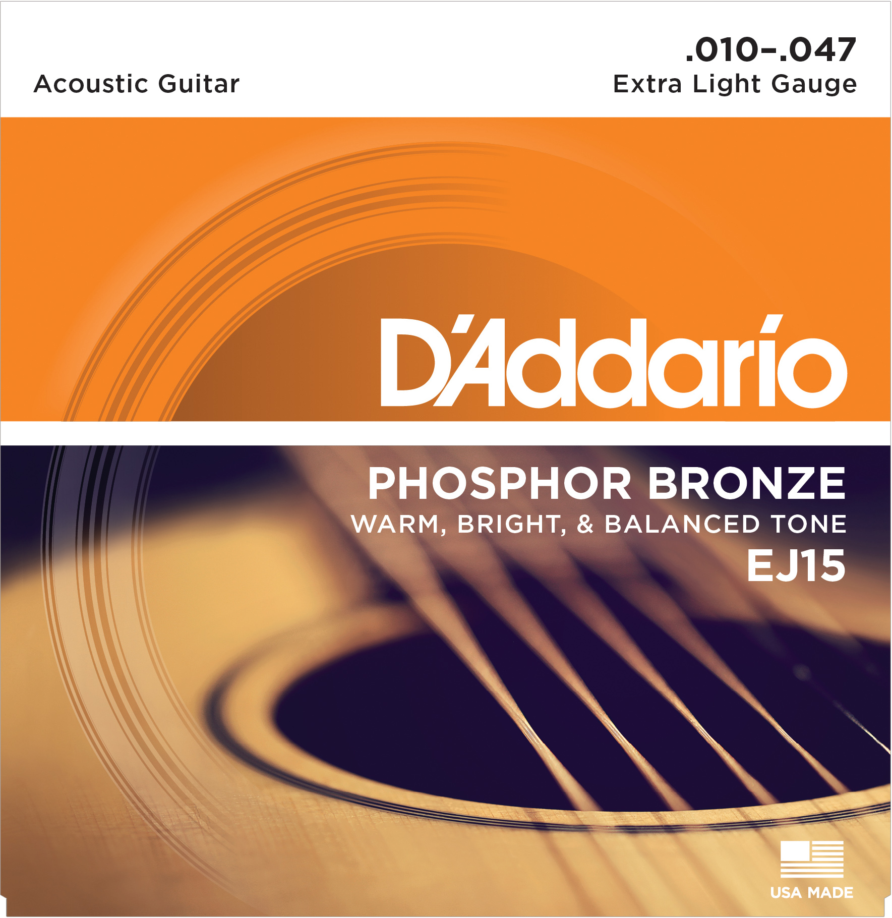 D'Addario phosphor bronze acoustic guitar strings 10-47