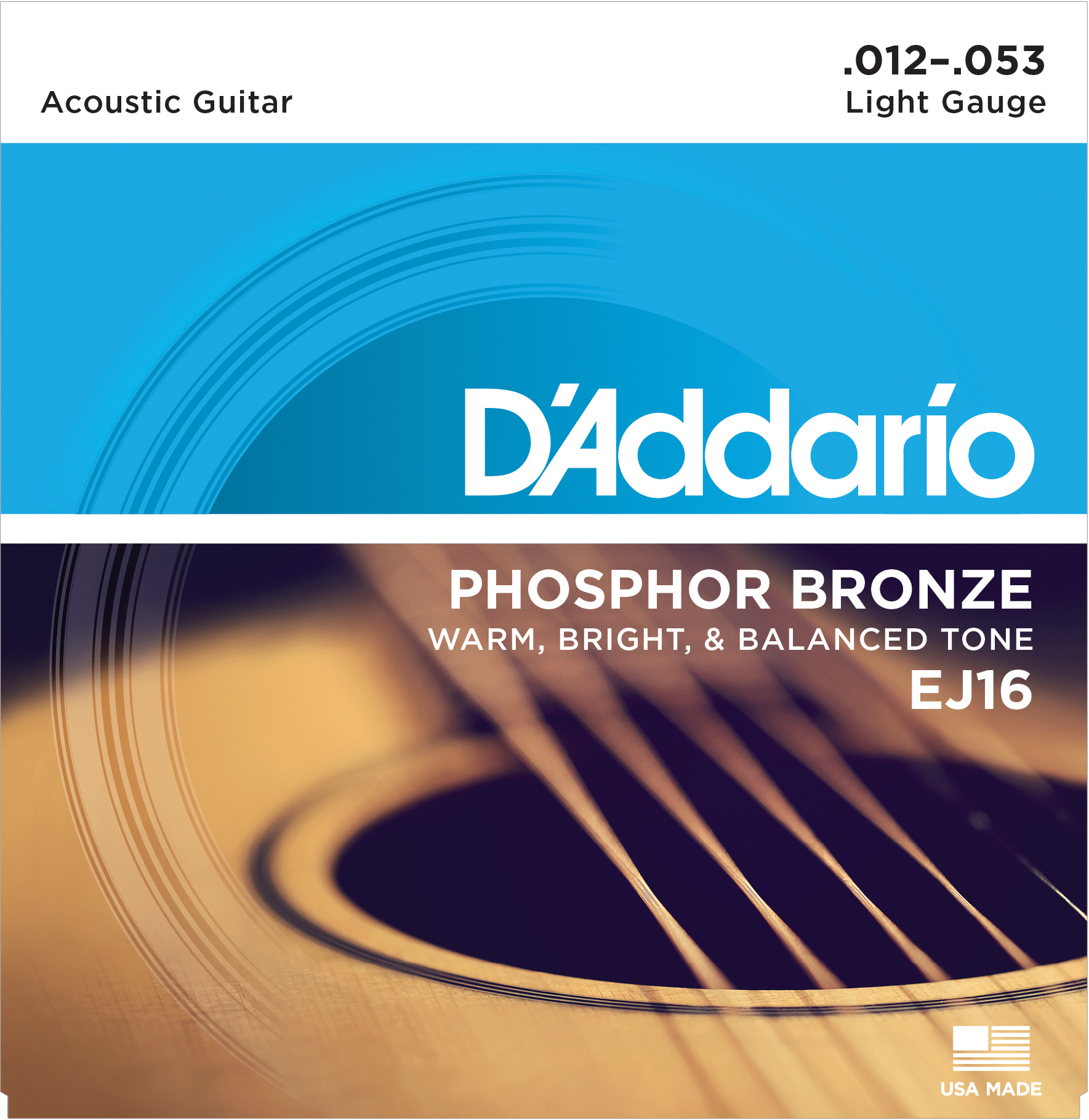 D'Addario Phosphor Bronze Acoustic guitar strings 12-53 ej16