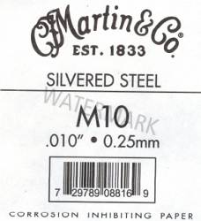 10 Martin Guitar strings silvered steel single string
