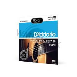 D'Addario coated guitar strings 80/20 bronze 12-53