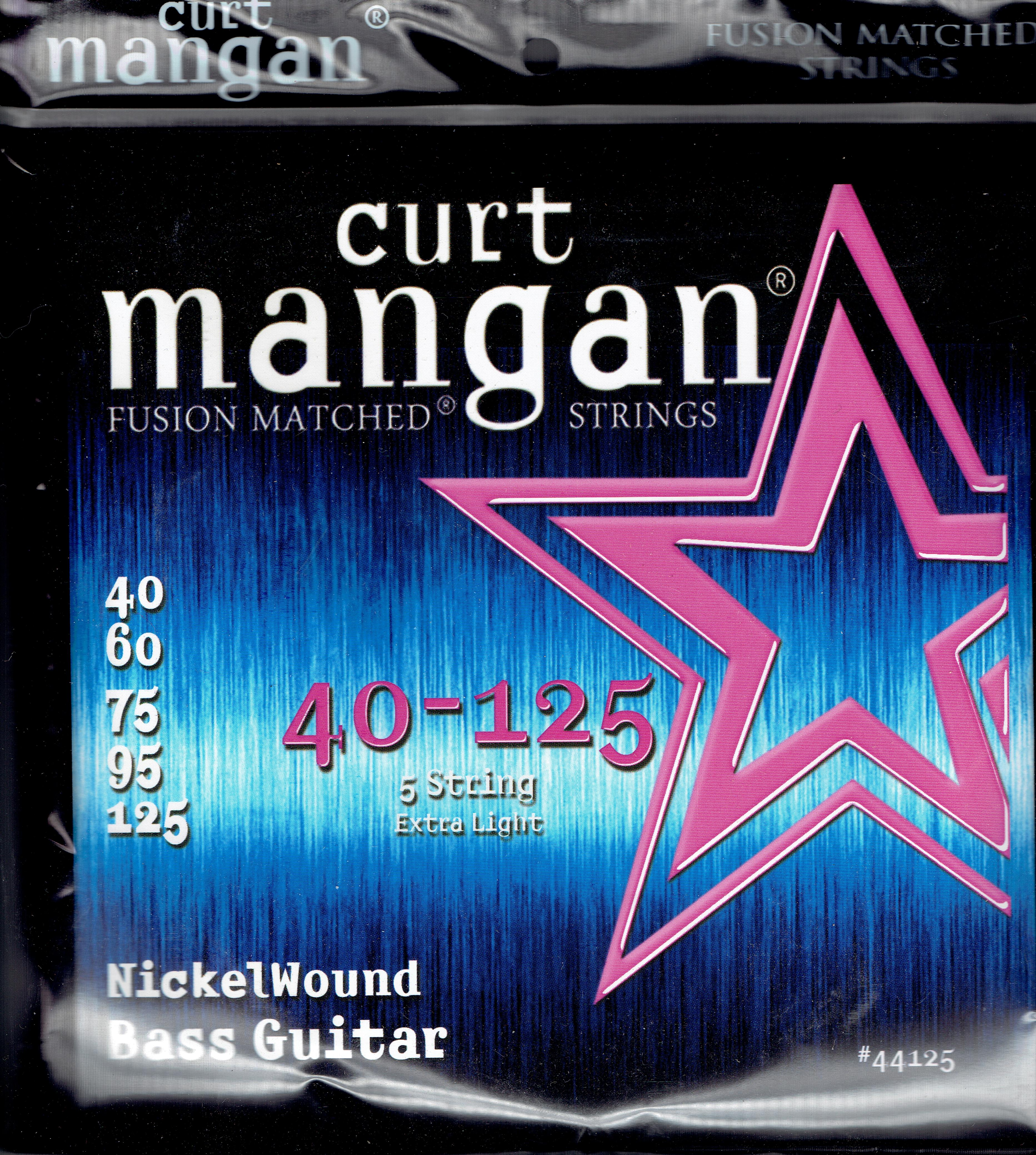 Curt Mangan nickel wound extra light 5 string 40-125 bass set