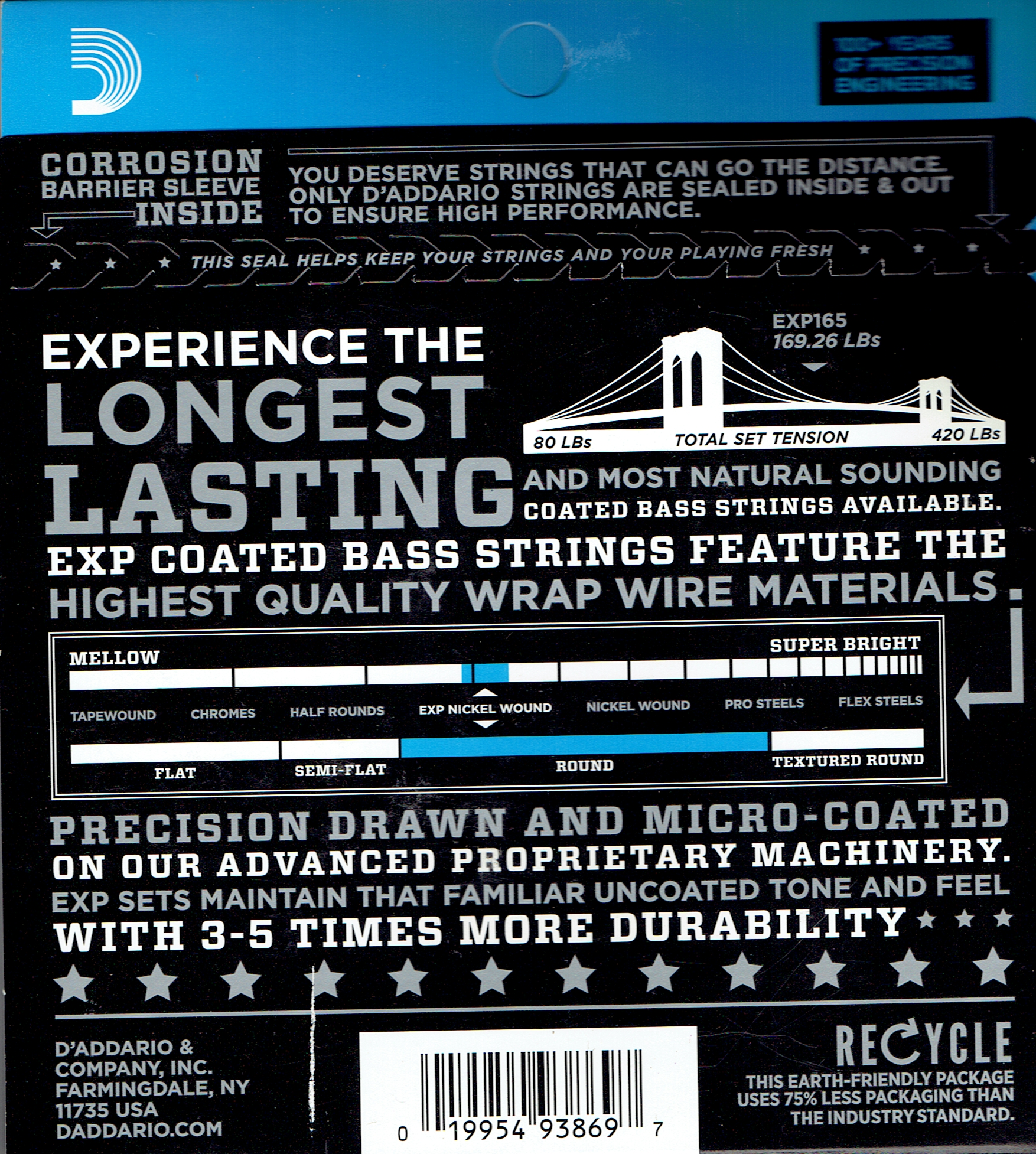 EXP165 coated bass strings D'Addario