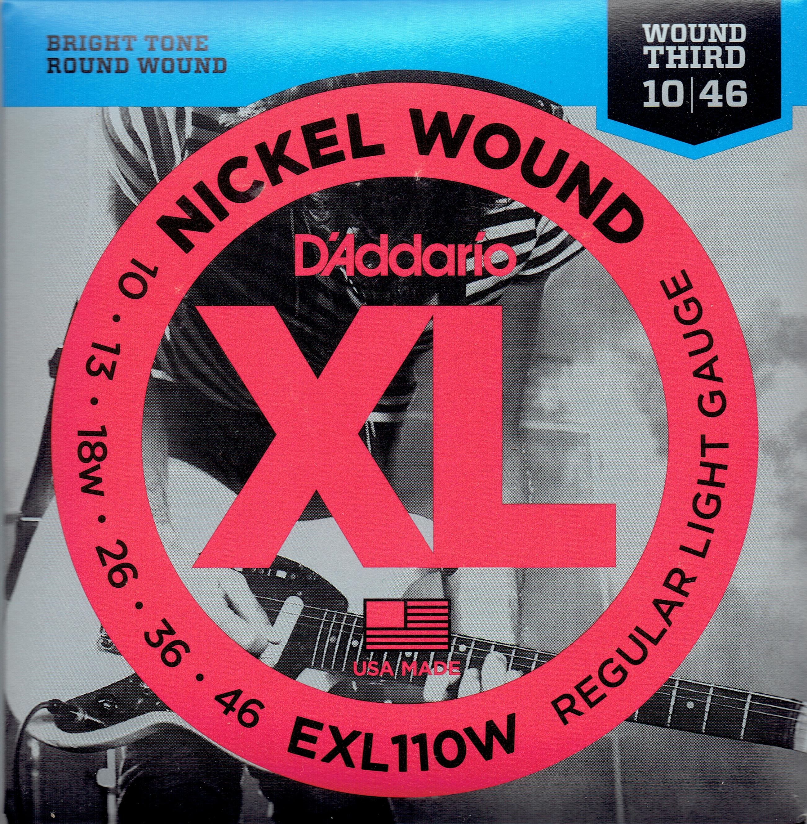 D'Addario nickel wound guitar strings 10-46 EXL110W