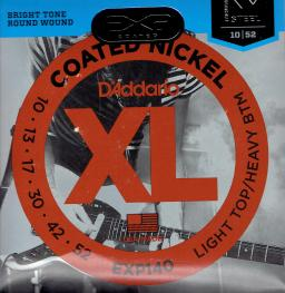 D/'Addario EXP140 Long Life Coated Nickel Wound Electric Guitar Strings 10-52.