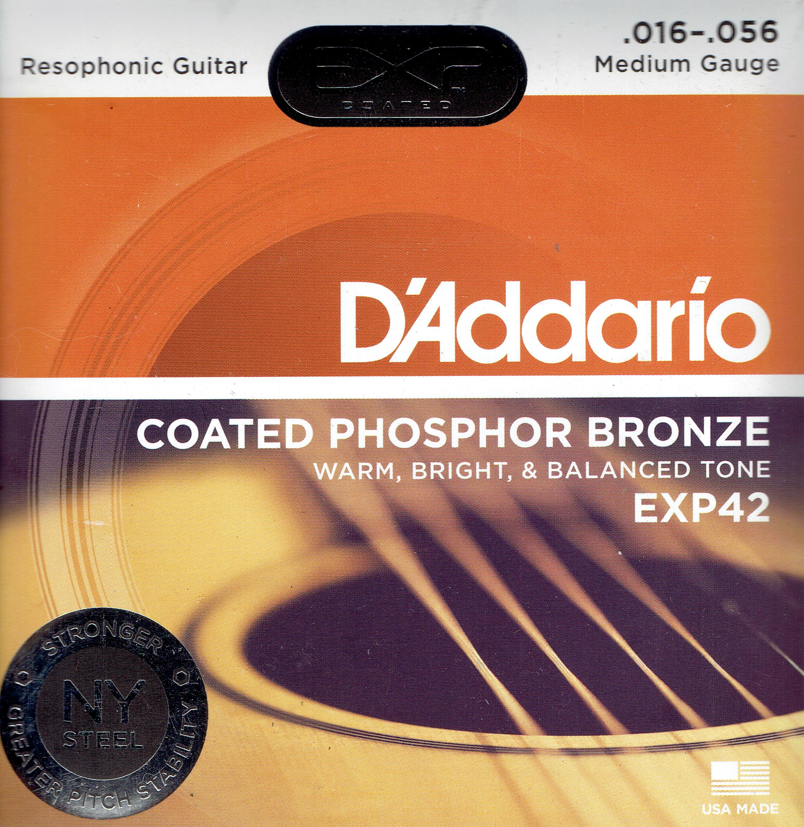 D'Addario acoustic resophonic guitar strings 16-56 EXP42