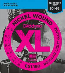D'Addario nickel wound guitar strings 12 string set 10-46 EXL150