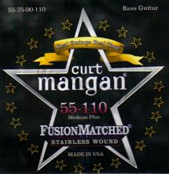 Curt Mangan stainless wound medium plus bass strings 55-110