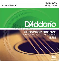 D'Addario phosphor acoustic guitar strings ej18 14-59